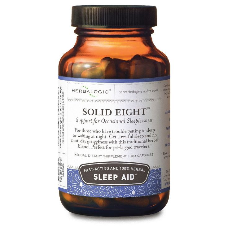 Sleep Deprivation Remedies - Herbs for Sleep - Natural Sleep Aids - Natural Sleep Supplements - Solid Eight Capsules from Herbalogic - 90 ct. - OTC Sleep Aids - Jet Lag Remedies