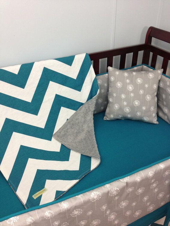 Custom Baby Bedding Turquoise Chevron And Gray Dandelion Made To Order Customizable Crib Per Sheet Skirt Gender Neutral Nursery