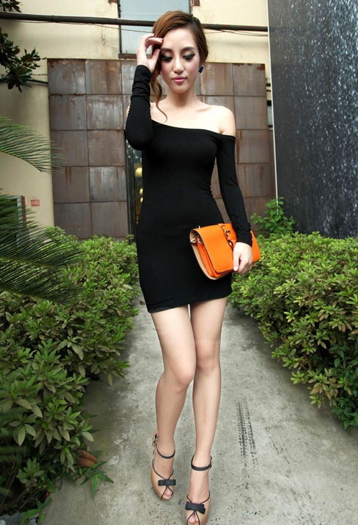 Glamour Off-The-Shoulder Bateau Neck Long Sleeve Club Dress For Women (BLACK,ONE SIZE) China Wholesale - Sammydress.com