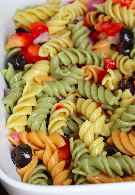 Skinny Pasta Salad - Skinny Mom I've been making this salad for years! My additions are blanched frozen veggies (whatever bagged kind you fancy) and homemade salad dressing. YUMMMM.