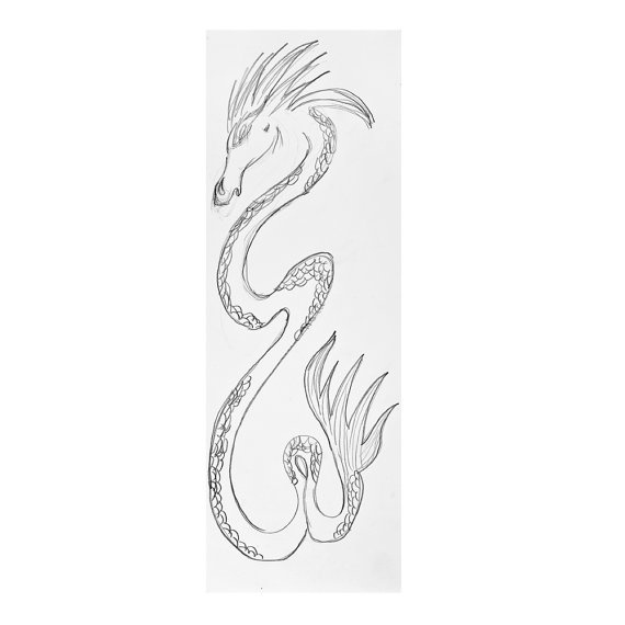 Chinese Dragon Drawing in Pen Original Zen Minimal by fionazakka, $25.00