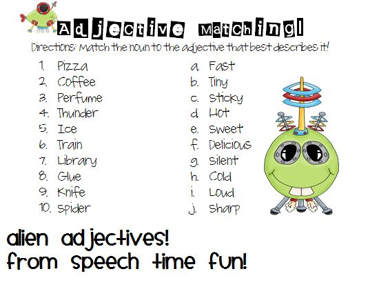 Speech Time Fun: Adjective Aliens: sorting cards, adjective synonym cards, board game for practice expressing adjectives, and a worksheet for review!Adjectives Aliens, Time, Speech Languages Therapy, Boards Games, Board Games, Adjectives Synonyms, Spaces Theme, Express, Cards