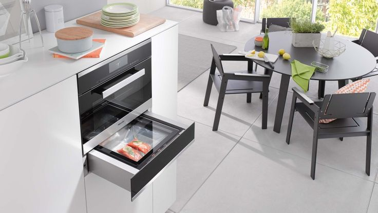 Depending on the initial condition of your food, vacuum sealing can extend its shelf life between three and five times, which is great when preparing dishes in advance or batch cooking. Portion control is essential for reducing food waste and the Miele Sous Vide Vacuum Sealing Drawer allows you to purchase in bulk but separate produce so nothing is wasted - ideal for busy family life #kitchendesign