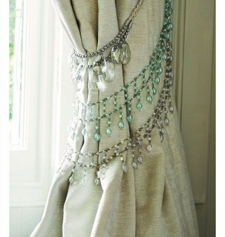 Add bejeweled necklaces as curtain tiebacks | DIY Home Decor Ideas on a Budget | Easy and Creative Decor Ideas | Click for Tutorial