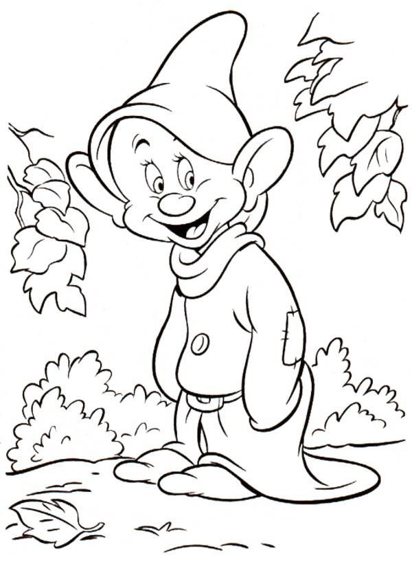 princess snow white friend dopey disney coloring page cartoon - Buzz Lightyear Face Coloring Pages