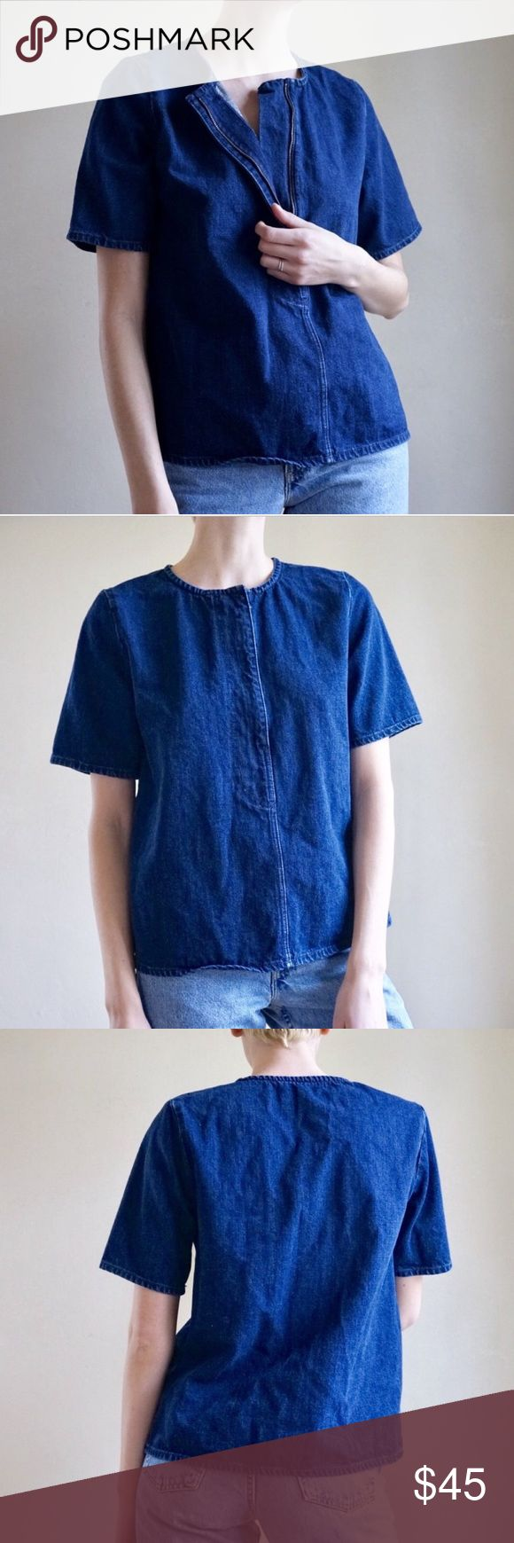 COS denim structured tshirt top DENIM STRUCTURED TEE TOP with oversized zipper from COS. I love this because it looks like you have a giant pants fly on your chest. Dark wash denim. Fits like M, modeled on S. High quality, excellent condition. COS Tops