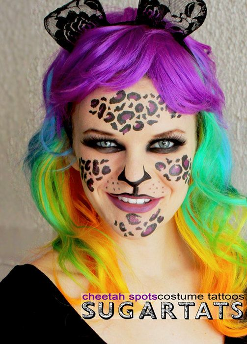 Leopard print temporary costume tattoos makeup set by for Halloween makeup tattoos