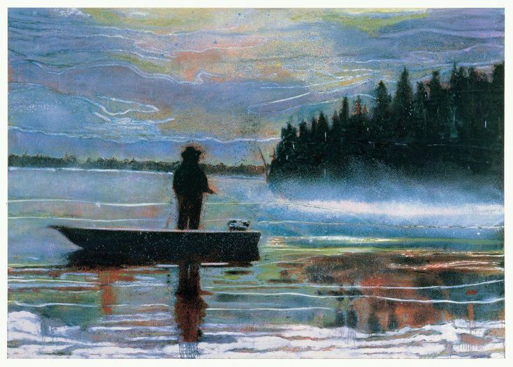 "Peter Doig, LUNKER, 1995, oil on canvas, 200 x 266 cm / 79 x 105""."