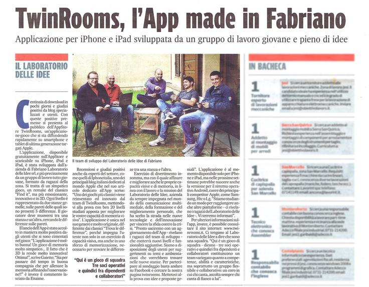 || TWINROOMS || 14 maggio 2013. Articolo del Corriere Adriatico sull'app del momento: Twinrooms!