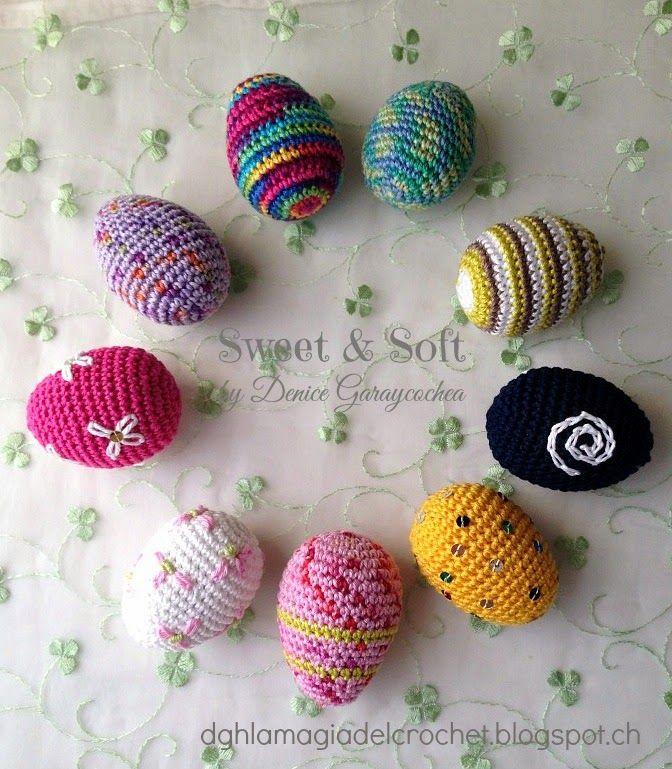Amigurumi Huevos de Pascua - Patrón Gratis en Español aquí: http://dghlamagiadelcrochet.blogspot.com/2014/03/huevitos-de-pascua.html