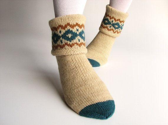 Patterned Hand Knitted Women's Woolen Socks  100 by milleta on Etsy, €27.00