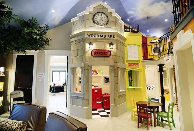 10 Amazing Kids Room Ideas: Basement Playroom Designed As Mini Town