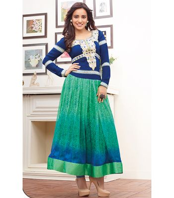Orange Fab Beautiful Neha Sharma Embroidery And Print Georgette Blue And Green Anarkali Suit Anarkalis on Shimply.com