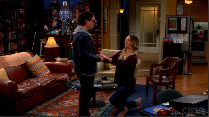 According to Leonard's request in The Tangible Affection Proof, Penny is the one who proposes to Leonard.