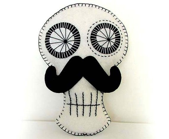 Movember Mustache Pillow Sugar Skull by TheDollCityRocker on Etsy, $25.00