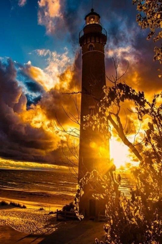 belle image Publié le 07/02/2014 à 08:03 par ayala at centerblog.net/rub photos de paysage #lighthouse, golden sunset, tree, clouds, sea, beach, French