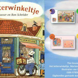 Digibordles-het-letterwinkeltje Digibordles bij het prentenboek Het letterwinkeltje van Marianne Busser en Ron Schröder, met tekeningen van Ingrid ter Koele. In deze les wordt aan diverse doelen gewerkt: beginklanken herkennen, auditieve synthese, visuele discriminatie en tellen en getallen.