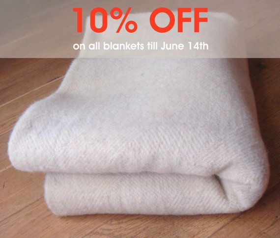 "Heavy Wool Blanket / 59"" x 83"" / 150 x 210 cm / 100% Sheep Wool"