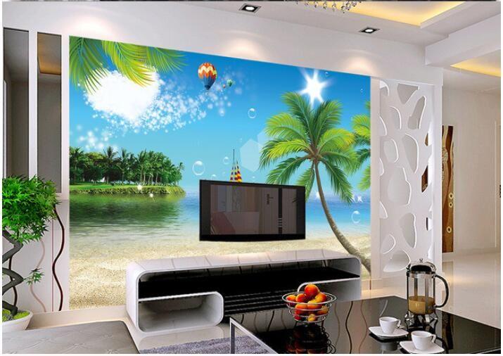 3d обои на заказ росписи нетканого 3d зал обои море кокосовой пальмы пляж морская звезда фрески фото 3d настенные росписи обои