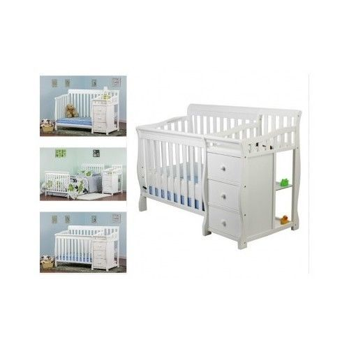 White Baby Crib Bed Nursery Furniture Set Convertible Changing Table 3 In1  Small