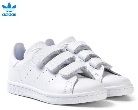 All White Stan Smith Velcro Kids Trainers. adidas ...
