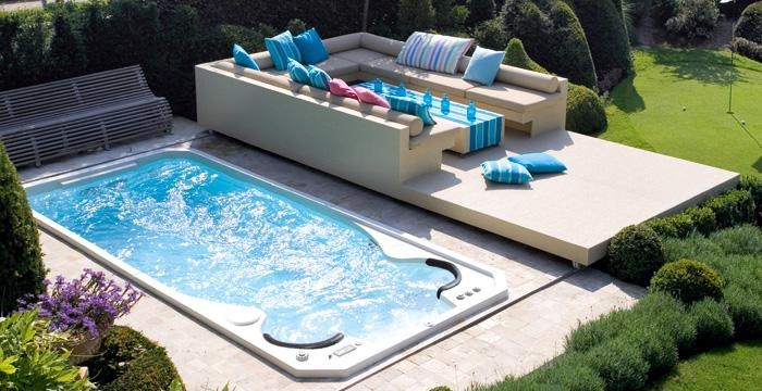 A lounge area next to your swim spa is ideal for relaxing after your workout.