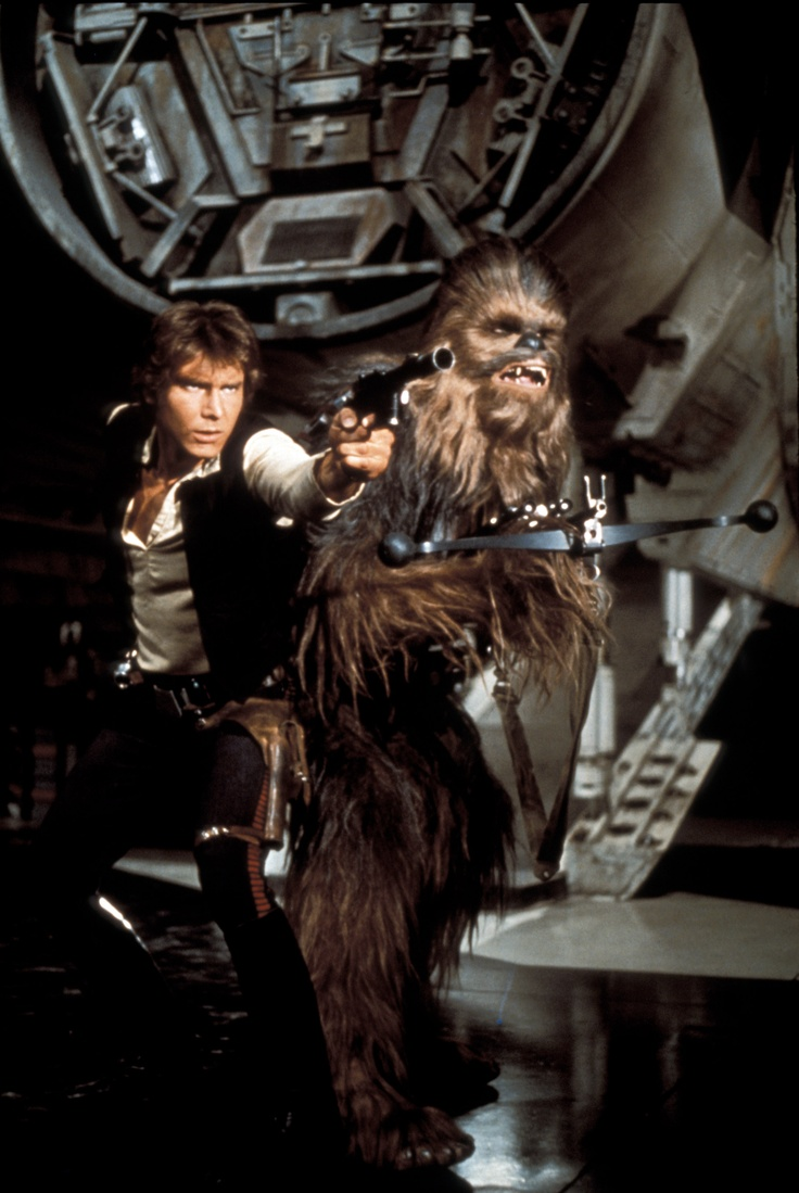 Han Solo and Chewbacca; I had this on a Trapper Keeper in grade school !!