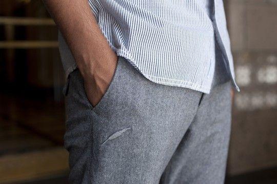 stripes. wool pants.