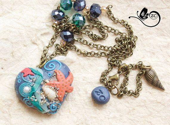 collana con cuore in fimo/ heart collection / di ZingaraCreativa