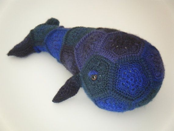 Crochet whale made out of African Flowers  Moby by HandmadebyFieke
