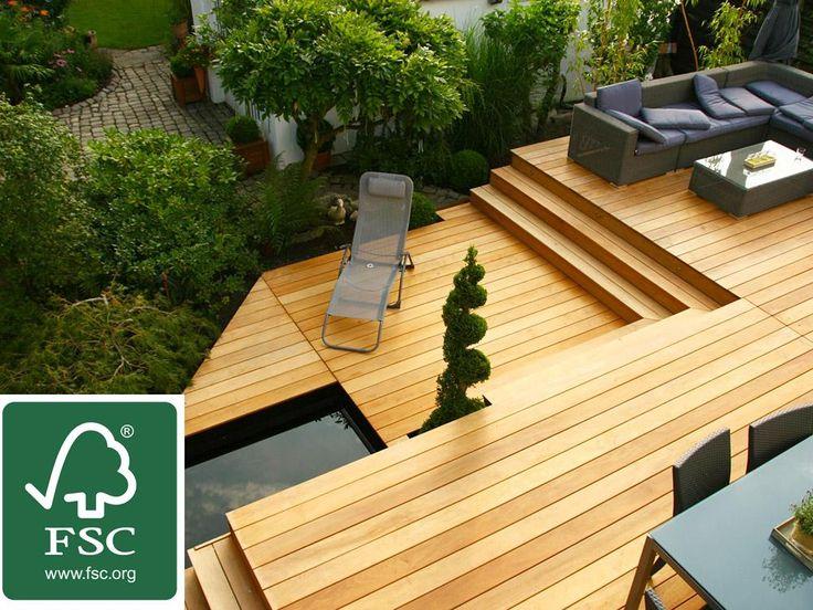 Garapa FSC 100% Terrassendielen,  21x145 mm, KD, glatt/glatt