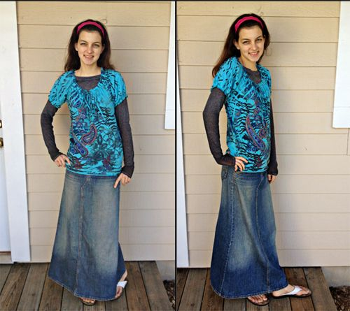 19 best Long Denim and Broomstick Skirt Outfits images on Pinterest
