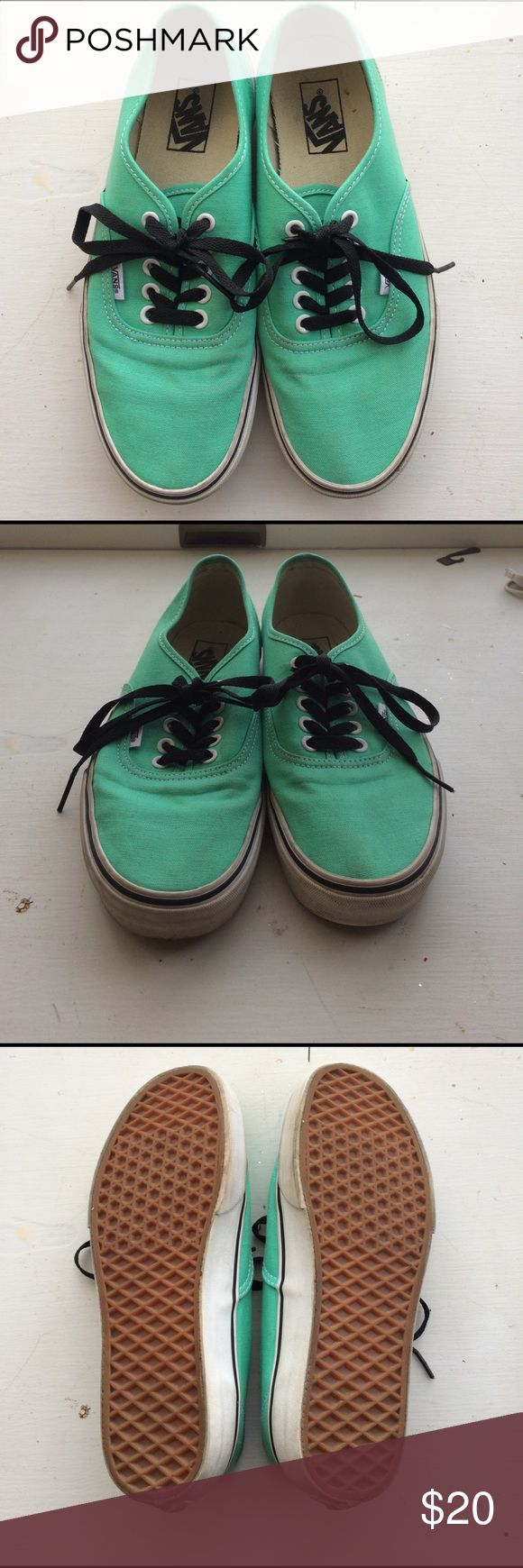 Mint Green Vans Super cute Vans that add a nice pop of color to any outfit!! Worn a few times so there are a few marks shown in the pictures! Vans Shoes Sneakers