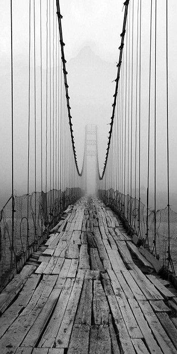 Bridge #photography #black #bridge #fog