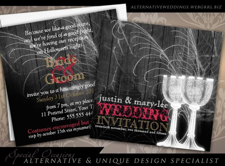 gothic vintage Silver Goblets Halloween themed Wedding Invitations