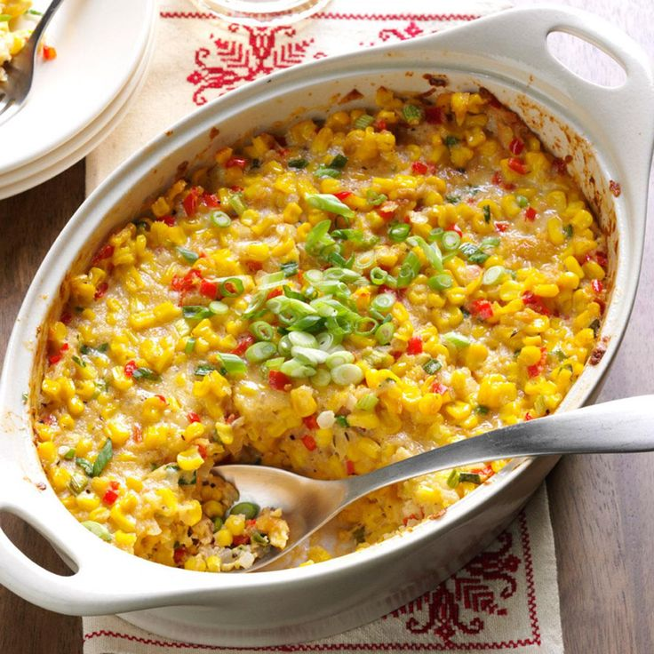 New Orleans-Style Scalloped Corn Recipe -This colorful casserole is popular for family gatherings in many New Orleans homes. I started making it years ago, and now our grown sons include it on their own menus.—Priscilla Gilbert, Indian Harbour Beach, Florida
