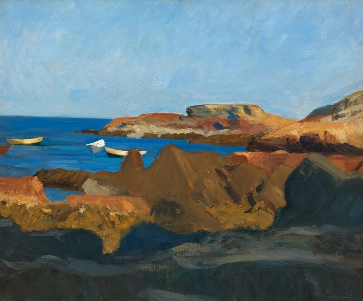 """Untitled, (Cove at Ogunquit), Edward Hopper, oil on canvas, 24 1/2 × 29 3/8"""", Whitney Museum of American Art."""