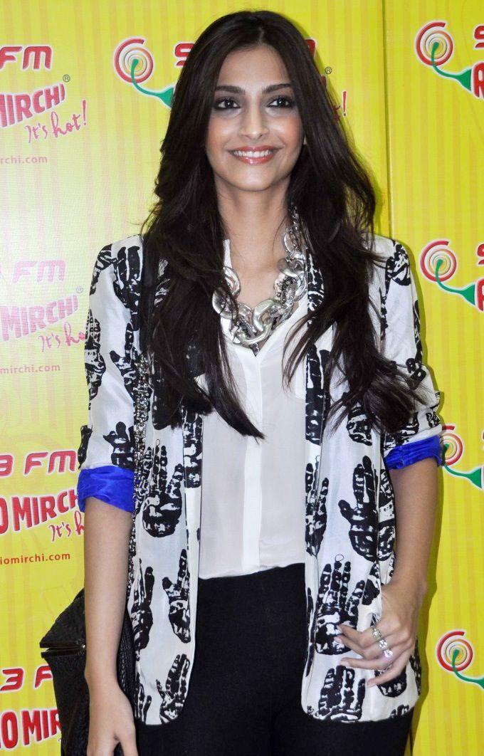 Sonam in Masaba Gupta printed jacket.