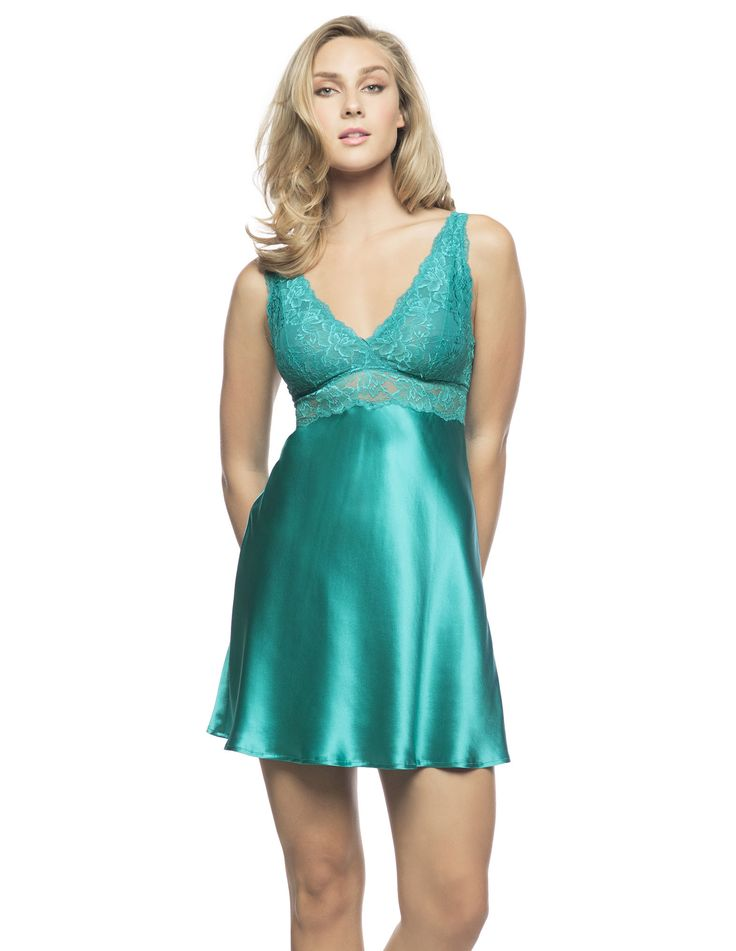 $190 Morgan Iconic Bust-Support Chemise in Caribbean. Without a doubt a silk chemise highly collectible in every shade!  Dare adopting the silky comfort of our delicately floral stretch lace bust support chemise, you deserve it.