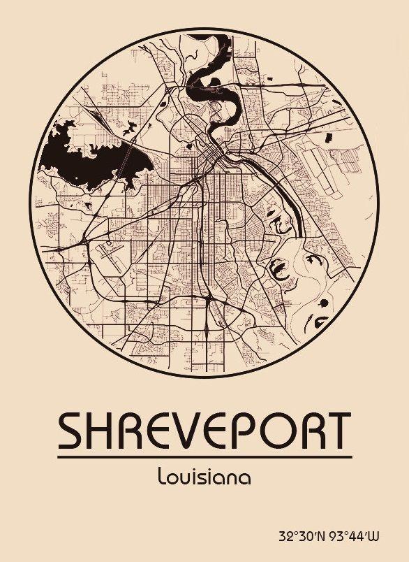 Karte / Map ~ Shreveport, Louisiana - Vereinigte Staaten von Amerika / United States of America / USA