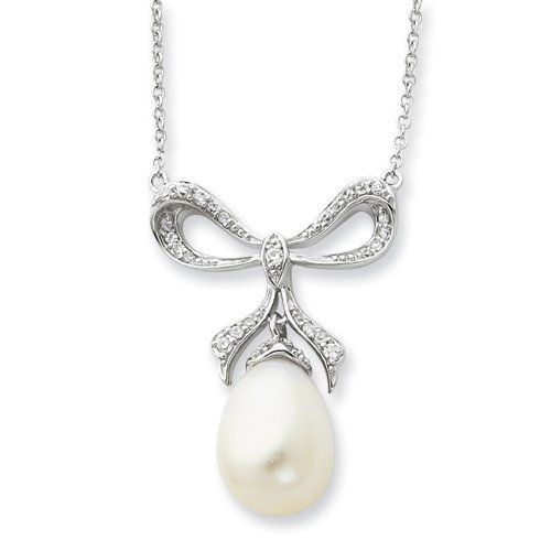Sterling Silver Cultured Pearl & Cz The Gift 18in Necklace Sentimental Expression. $76.02. Save 62% Off!