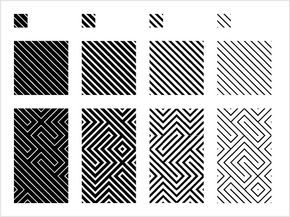 """Padronagens inspiradas nos grafismos dos Baniwa, povo indígena do Alto Rio Negro. A partir desses padrões é possível construir as """"sílabas gráficas"""" utilizadas pelos Baniwa para dar significado à cada peça de cestaria. Estes quatro padrões com pesos de linha diferentes são a base para a formação de padrões mais complexos. Podem ser montados de forma ordenada ou aleatória."""
