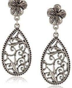 1928-Jewelry-Silver-Scrolls-Floral-Teardrop-Earrings-0