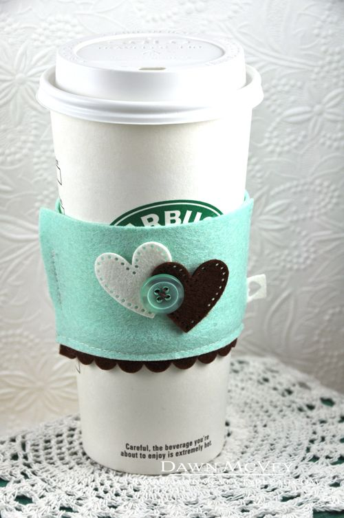 Two Hearts Coffee Cozy by Dawn McVey for Papertrey Ink (August 2013)
