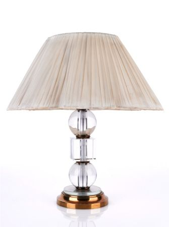 Crystal and Polished Bronze Boudoir Lamp by Jacques Adnet