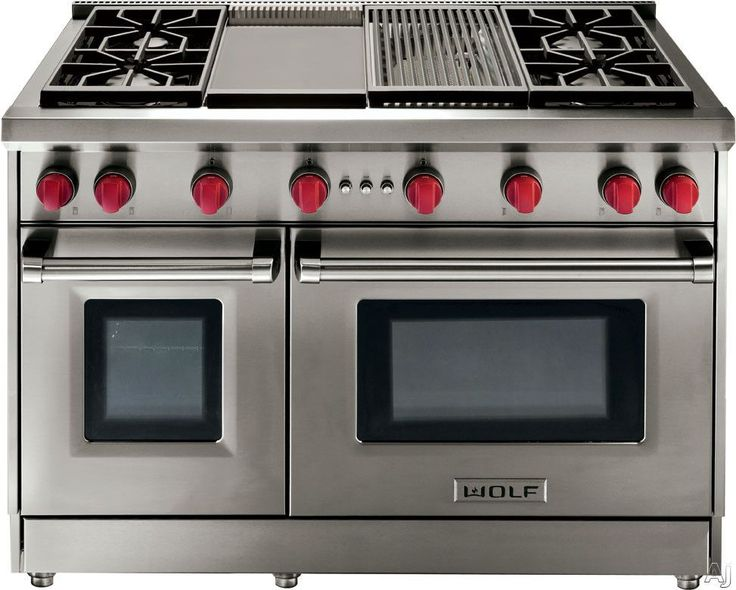 "Wolf GR486G 48"" Pro-Style Gas Range with 6 Dual-Stacked Sealed Burners, Griddle, 4.4 cu. ft. Convection Large Oven, Infrared Broiler, Red Control Knobs and Island Trim: Natural Gas"