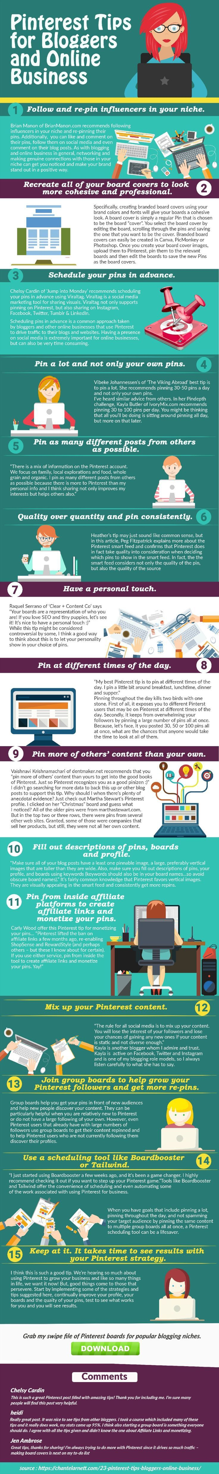 Ready to up your Pinterest marketing game? Check out this list of 23 tips to use Pinterest to market your online business and grap by SWIPE FILE of board ideas for popular blogging niches!