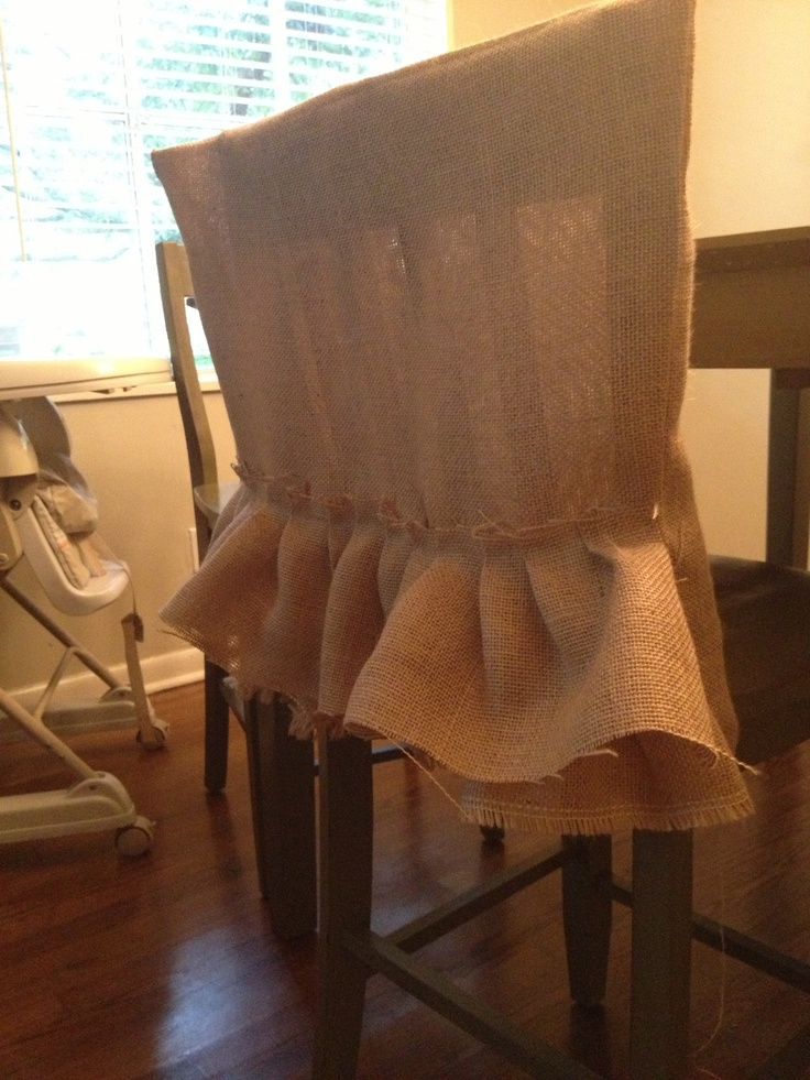 Ruffled burlap chair back covers  Stuff I actually made