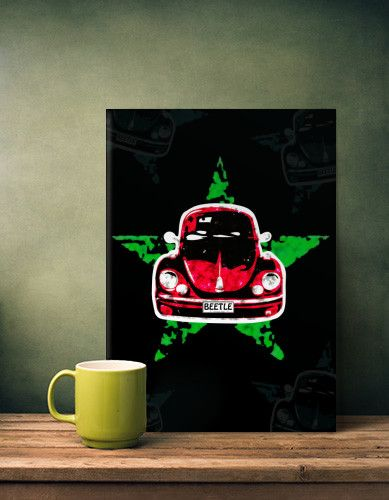 'BEETLE' - METAL POSTER By Displate/Alan Hogan     #Collection #Multimedia #Gallery #quality #metalplate #Displate #print #collectors #beetle #star #icon #pop #art #design #red #green #bug #sixties #hippy #love #peace #car #autos #cars #german #vw #volkswagen #herbie #classic #retro #nostalgia #lovebug #Popart