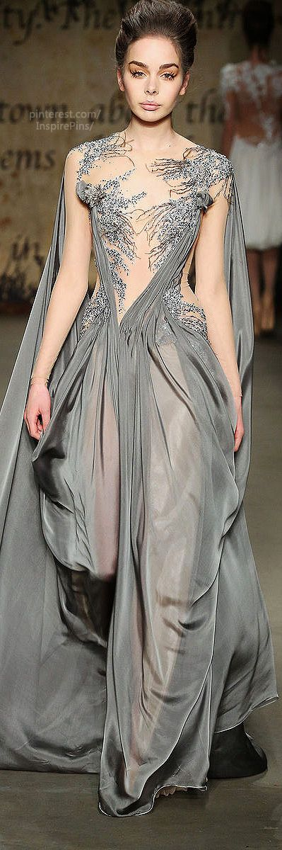 Edwin Oudshoorn ~ Fall-winter 2014-2015 something about it just reminds me of the sea and the seaweed. There is just something earthy or natural about it. I like the chiffon and the positioning of the material